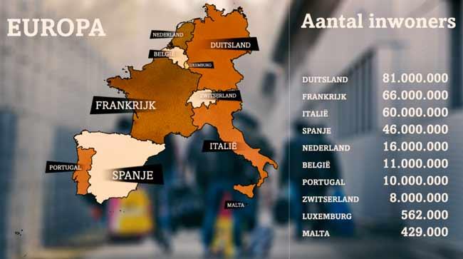 Количество жителей южной и западной Европы: