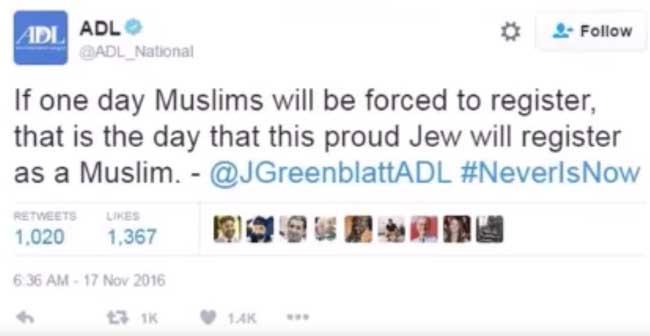 Твитт главы ADL На фото: глава ADL Jonathan Greenblat